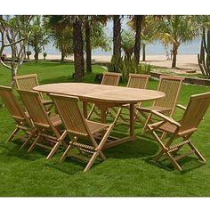 Fresh SAM Teak Holz Gartengruppe teilig Garten M bel aus Massiv Holz bestehend aus x Ausziehtisch Solo x Klappstuhl Menorca ohne Armlehnen