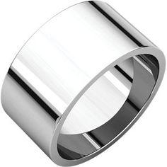 14kt White 10mm Flat Band