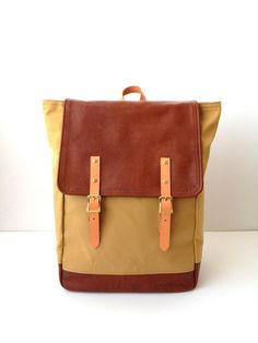 Backpack No.5  Khaki Tan Water Resistant Canvas with by buluchu, $232.00