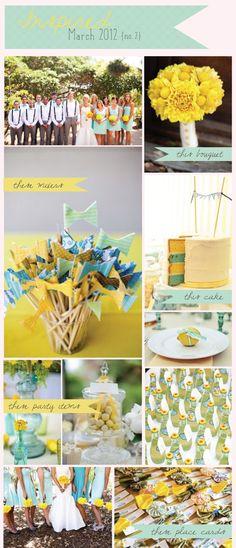 Aqua & Yellow Wedding Color Palette