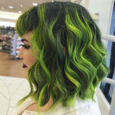 """ Gorgeous Green Hair Painting  design with shadow root by @nealmhair Love the curly lob too! #hotonbeauty"""