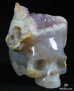 Open Your Mind Amethyst Minerals And Gemstones, Rocks And Minerals, Crystals And Gemstones, Wiccan Spells, Rocks And Gems, Crystal Skull, Skull And Bones, Skull Art, Oeuvre D'art