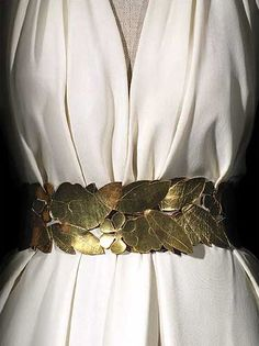 Vionnet gilded-leaf belt c1936 on a bias-cut crêpe dress.