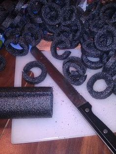 DIY Halloween chain from pipe insulation, and other cheap and easy Halloween decoration ideas.