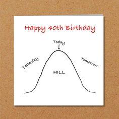 Funny 40th Birthday Card for husband wife friend #funny #40thbirthday #birthdaycard #overthehill
