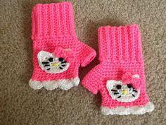 Hello Kitty Inspired Fingerless Gloves by MadeWithLoveByGlama, $18.00