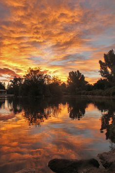 Sunrise at Glenmere Park in Greeley, Colorado.