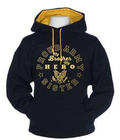 PROUD ARMY SISTER-My Brother My Hero Foil Design Unisex Contrast Hoodie Sweatshirt by HauteBlingz on Etsy