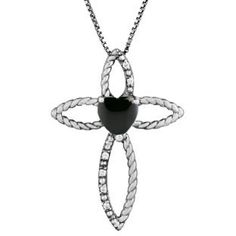Diamond Birthstone Black Onyx Heart Cross Pendant In Black Rhodium White Gold Gemologica.com offers a unique simple selection of #handmade #fashion #fine #jewelry for #men #women #children to make a statement. We offer #earrings #bracelets #necklaces #pendants #rings with #gemstones #diamonds #birthstones available in Sterling #Silver 10K 14K 18K #yellow #rose #white #gold #titanium silver #metal. Shop Gemologica jewellery now for cool cute design ideas Gemologica Customer Reviews