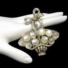 Coro Pegasus 1941 Rhinestone Flowers Egg Basket Brooch Pin Vintage Satin Glass #MyClassicJewelry #GotVintage