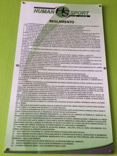 Reglamento de Gimnasio Human Sport instalado con chapetones listo para ser obedecido. #AltaCalidad