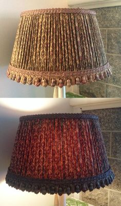 This lampshade was designed for use on a beautiful 1870's New York manufactured stoneware jug. The shade is a late 19th century style covered with an American reprint of a1860's fabric from the Civil war collection. The earth tones with cranberry red dots on the cotton print, with corresponding egg corn trim & fringe go beautifully with the jug for a wonderful refined country styled  lamp . The electrics of the lamp are exterior wired  preserving the jug  perfectly for future generations.