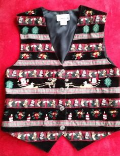 Ugly Christmas Sweater Vest Velvet Embroidered Santa Stocking Size Small in Clothing, Shoes & Accessories, Women's Clothing, Vests | eBay