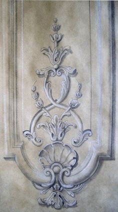 Looking for grisaille inspiration for your monochromatic interior. The best collection of mages of grisaille, brunaille and verdaille paintings and murals. Motif Arabesque, Grisaille, Carving Designs, Mural Painting, Paintings, Architectural Elements, Painting Techniques, Wood Carving, Wall Murals