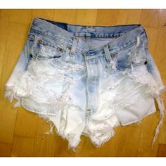 Vintage Levi high-waisted shorts, ultra-ripped and faded ($50) ❤ liked on Polyvore