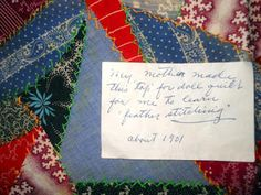"Doll quilt with note ""About 1901."""