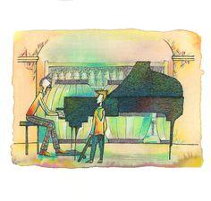 """Raccoglitori di stelle"".  Illustrazioni di Marco Lorenzetti."