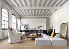 New York Loft Style Living Room Design New York Style Bedroom Lofts, New York Loft, House Design Photos, Modern House Design, Living Room Designs, Living Spaces, Small Living, Modern Living, Loft Stil