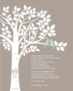"""Personalized Custom 1 Corinthians 13 Love Birds Family Tree - Wedding Gift or First Anniversary Paper Gift - 8""""x10"""" (Taupe/Pale Blue)). $18.00, via Etsy."""