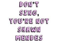 """""""Don't sing you're not Shawn Mendes""""                                                                                                                                                      Mais"""