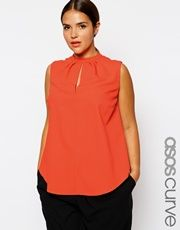 ASOS CURVE Origami Top With Keyhole Neck