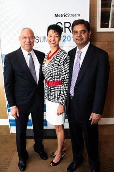 MetricStream GRC Summit 2013 at the Mandarin Oriental Hotel in Las Vegas – Keynote speaker General Colin Powell, USA (Ret.) with Shellye Archambeau, CEO, MetricStream and Gunjan Sinha, Executive Chairman, MetricStream