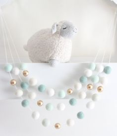 Use this darling #SheepFarmFelt ball #Garland to decorate your #BabyShower and…