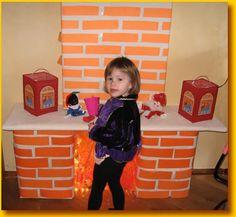 Een schoorsteen maken voor sinterklaas. Met dozen, en deze bekleden met stroken oranje papier. (zoals bakstenen)