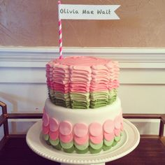 baby shower cake. pink and moss ombré.