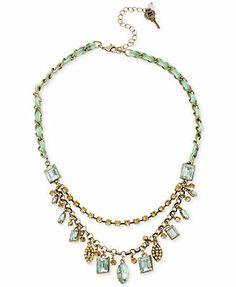 Betsey Johnson Brass-Tone Shaky Crystal Gem Frontal Necklace