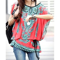$9.97 Ethnic Style Scoop Neck Print Color Block Short Sleeve T-Shirt For Women
