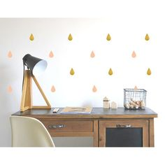 Stickers Gouttes - or / rose poudre POM l little-home.fr
