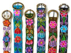 Wool embroidered belt floral handmade belts by PeruvianBelts