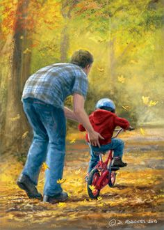 Daniel Rodgers / Learning to Ride Peintures Norman Rockwell, Norman Rockwell Paintings, Fathers Love, Happy Fathers Day, Father And Son, Castle Painting, Pottery Painting Designs, Country Art, Kids And Parenting
