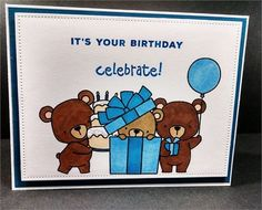 This birthday card features three hand stamped and colored teddy bears. I did this card in different shades of browns and blues. There is…