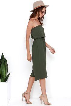 Full Tilt Olive Green Strapless Midi Jumpsuit at Lulus.com!