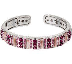 Judith Ripka Sterling Multi Gemstone Cuff Bracelet