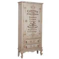 French Shabby Lingerie Armoire with painted words in French.