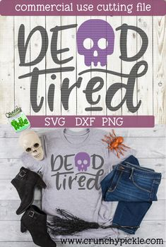 Dead Tired SVG cutting file for Cricut or Silhouette Cameo. Halloween Mug, Halloween Projects, Halloween Costumes For Kids, Halloween Silhouettes, Halloween Clipart, Vinyl Crafts, Vinyl Projects, October Crafts, Silhouette Cutter