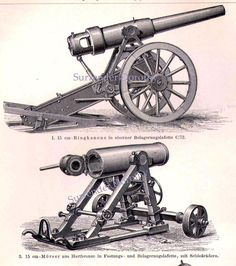 Cannons Weapons Of War 1887 Vintage Victorian Era Military Engravings From Germany. $20.89, via Etsy.