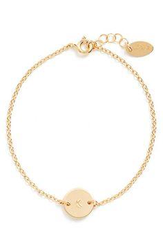 Women's Nashelle Initial Mini Disc Bracelet - 14k Gold Fill K