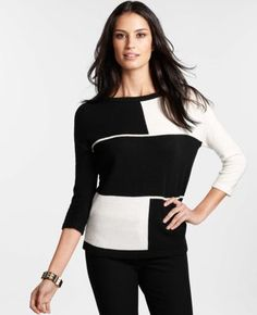 Keep warm with this Merino Wool Blend Colorblocked Sweater from @Ann Taylor