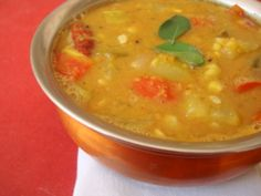 I cannot say enough good things about today's sambar recipe. It has never let me down and its my favorite ever since I chanced upon Hemantji's sambar podi. The key to a good aromatic sambar is 'sambar powder' and the vegetables that go into its making. There are numerous versions of sambar but this one is note worthy due to the magical sambar powder.