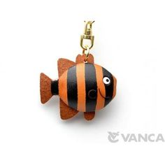 GENUINE 3D LEATHER STRIPDE FISH KEYCHAIN MADE BY SKILLFUL CRAFTSMEN OF VANCA CRAFT IN JAPAN. #handmade #keyfob #gift #unique #art #design #cute #sea #animal