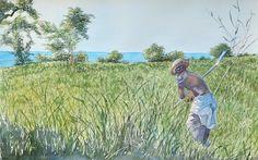 My watercolor of a man cutting grass near Lake Malawi http://www.trailheadstudios.com/blog.html