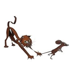 Metal Cat Catching Mouse Sculpture