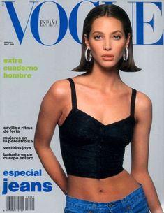 Models of the Christy Turlington on the April 1990 cover of Vogue España Christy Turlington, Vogue Magazine Covers, Vogue Covers, Cindy Crawford, 1990 Style, Elle Mexico, Tatjana Patitz, Niki Taylor, Gisele Bündchen