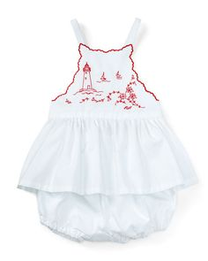 Ralph Lauren Childrenswear Embroidered Cross-Back Batiste Top w/ Bloomers, White, Size 9-24 Months $65