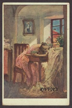 Czech Artist J Manes Vintage Postcard Sewing Woman Cries Painting Present Day, The Conjuring, Art Decor, Medieval, Abstract Art, Gallery, Artist, Artwork, Dressmaker