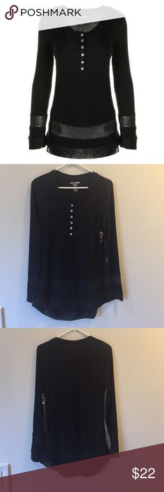 Steve Madden Black Long Sleeved Shirt Size M NWT! Steve Madden Black Long Sleeved Shirt Size M NWT! Super soft button down long sleeved tunic with sheer detailing around wrist and bottom. Steve Madden Tops Tunics